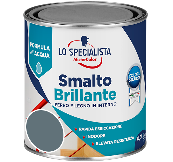 smalto brillante all'acqua grigio scuro