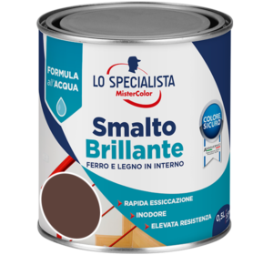 smalto brillante all'acqua marrone